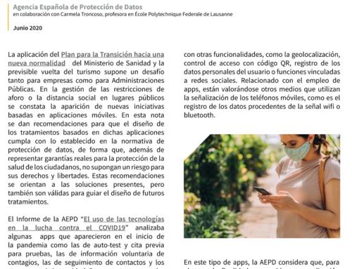 La AEPD publica unas recomendaciones sobre el uso de aplicaciones en acceso a espacios públicos